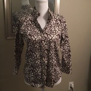 Ralph Lauren brown and white printed blouse